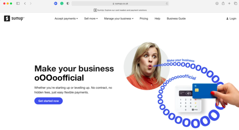 """SumUp Homepage - Woman saying """"Make your business oOOoofficial with a car next to a SumUp card reader"""