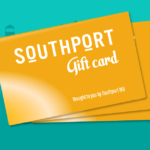 Three fanned gold Southport Gift Cards on a teal background, at a slight angle, with the top right of the cards higher than the bottom left